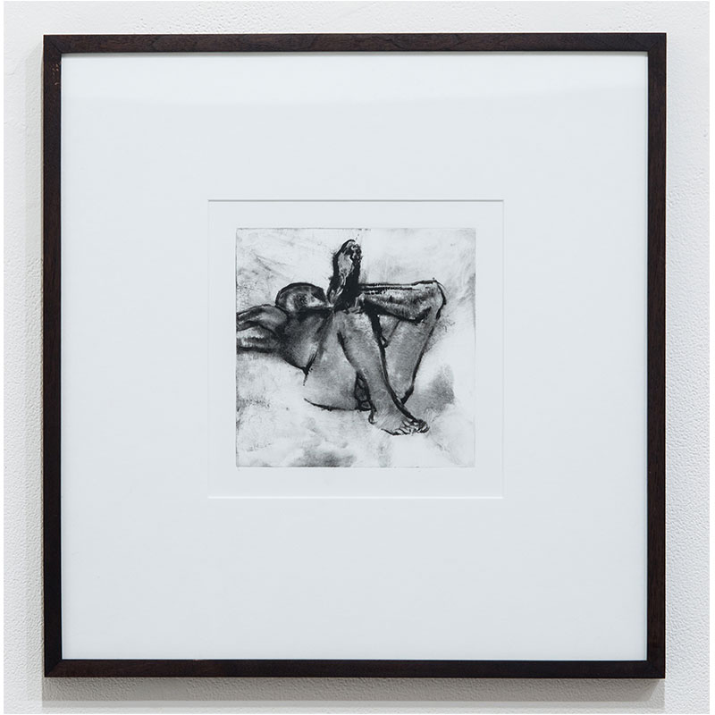 """Stephen Hayes   Figure Study on Back #8  monotype on paper 7 x 7"""" paper 17.25 x 16.75"""" framed  Inquire >"""