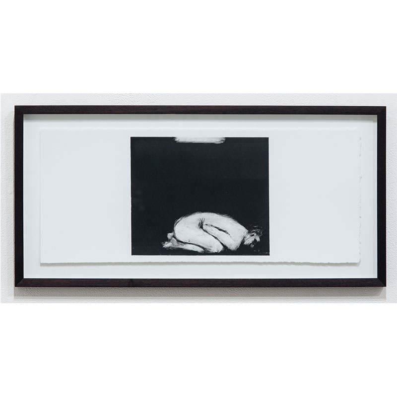 """Stephen Hayes   Man Series 8 , 1993 monotype 7.5 x 18.25"""" paper 10.25 x 21"""" framed  Inquire >"""