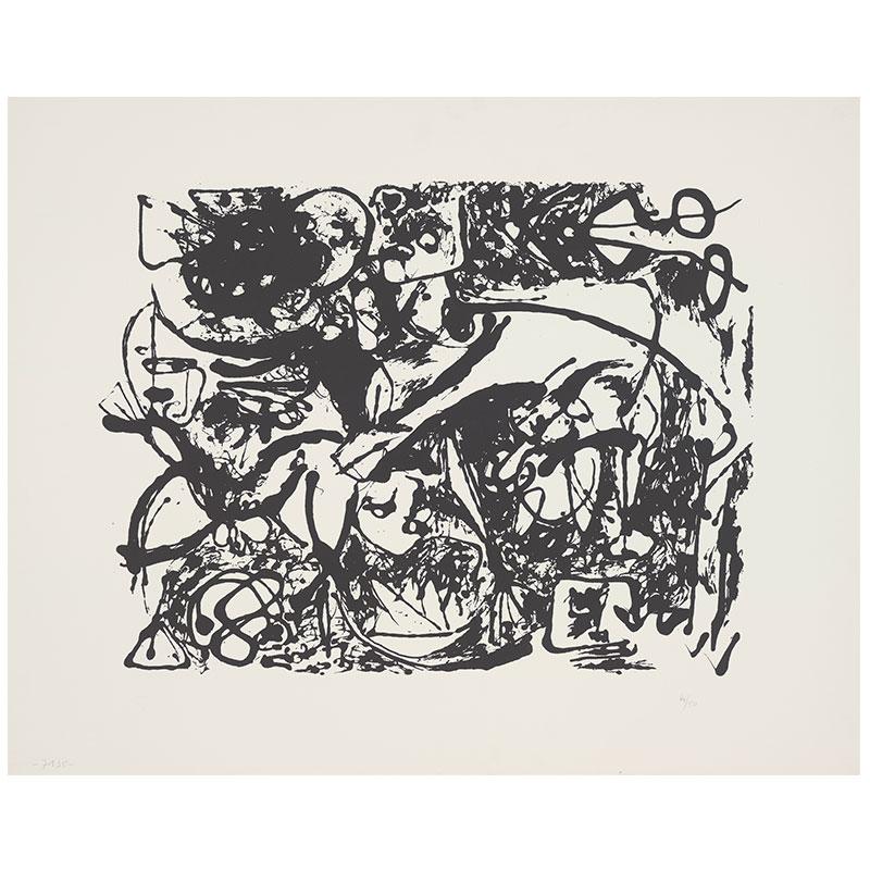 "Jackson Pollock   Untitled - JPo 3 , 1951 screenprint 29 x 23"" paper 33 x 25"" framed Edition of 50"