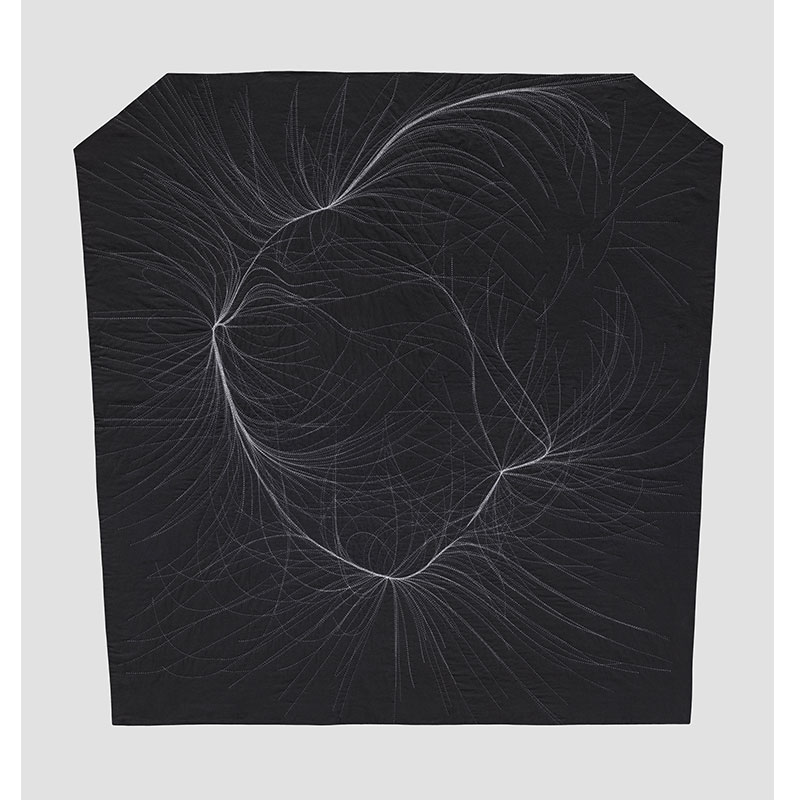 """Structure Within a Cube - AVM 72 , 2016 hand-stitched cotton 74 x 74""""  Inquire >"""