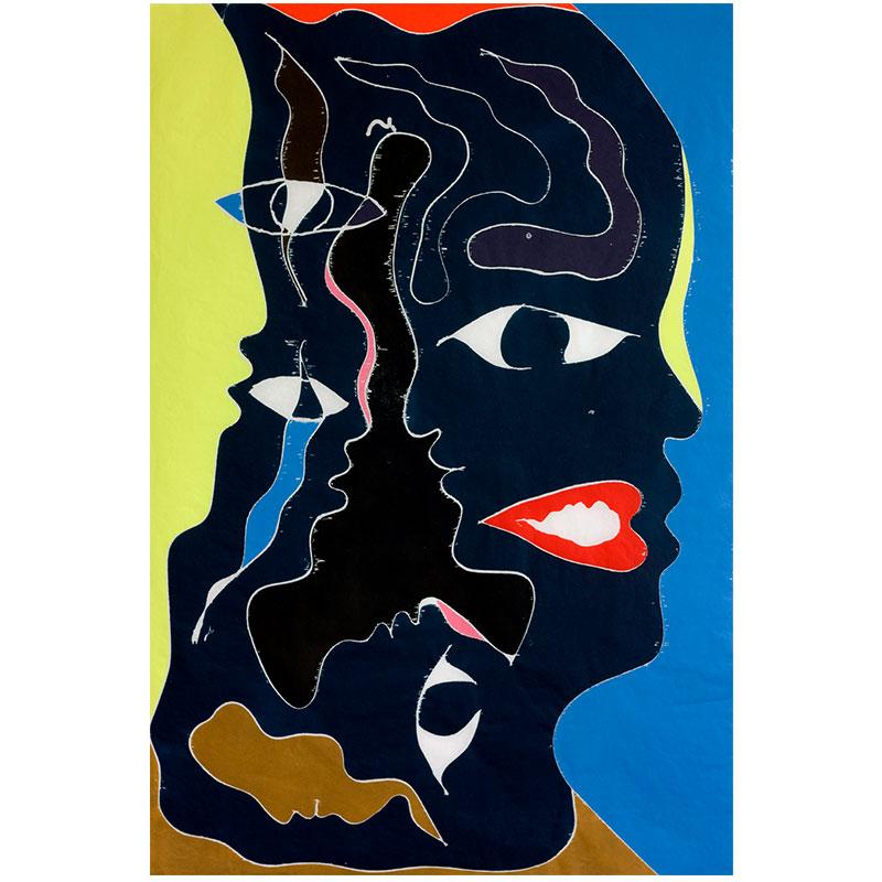 "Born Into Colors , 2017 color woodblock on Kozo paper 48 x 32"" Edition of 25  Inquire >"