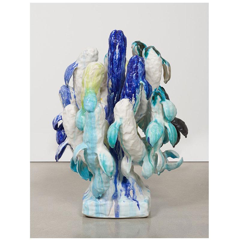 "Matt Wedel   Flower tree , 2014 porcelain 27.5 x 19 x 20.5"""