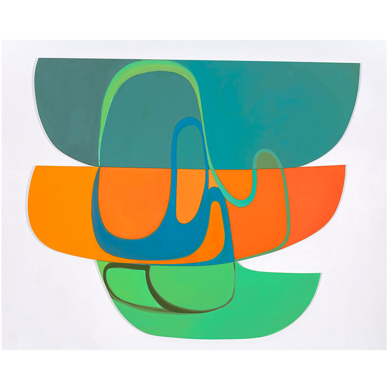 Joanna Pousette-Dart   Cañones #3 , 2007-08 acrylic on canvas on shaped panels 79 x 92""