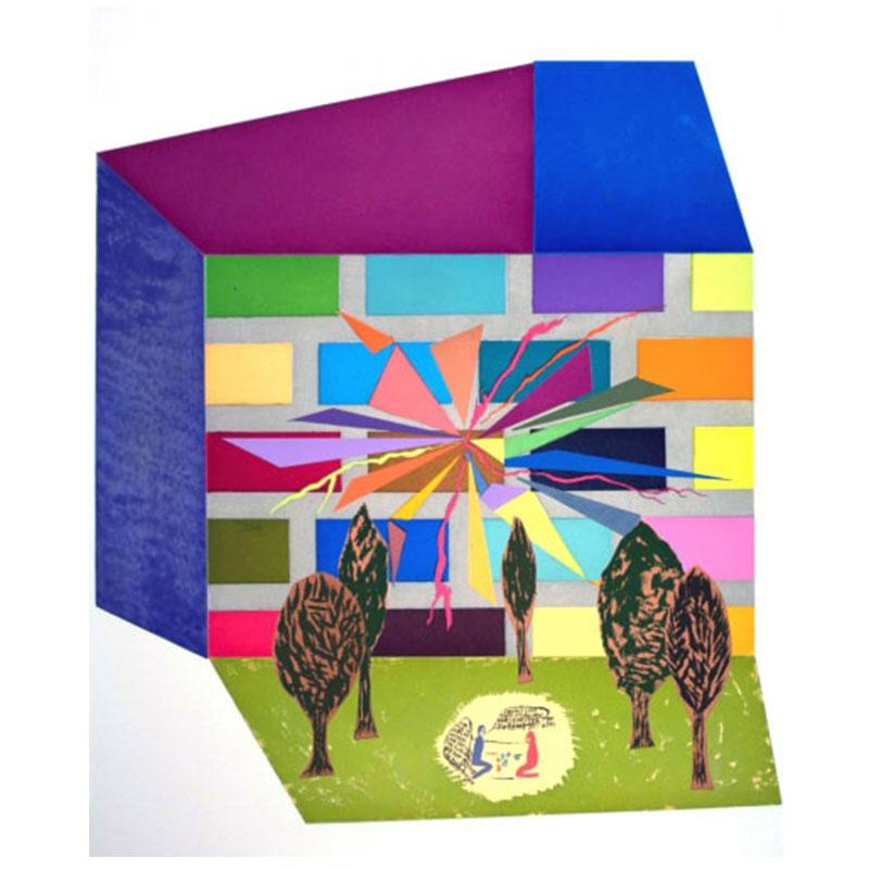 "Chris Johanson   Perceptions #1 , 2007 color sugarlift acquatint 37 x 31.25"" Edition of 30"