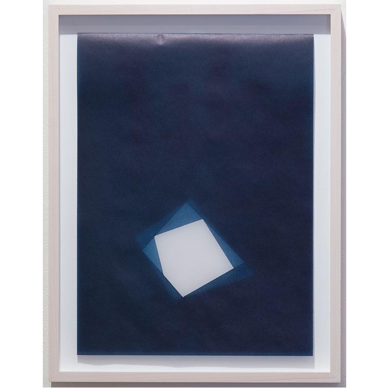 "Julia Mangold   Untitled, 2016-0816 , 2016 indigo pigment in wax on paper 16 x 12"" paper 18.5 x 14.5"" framed"