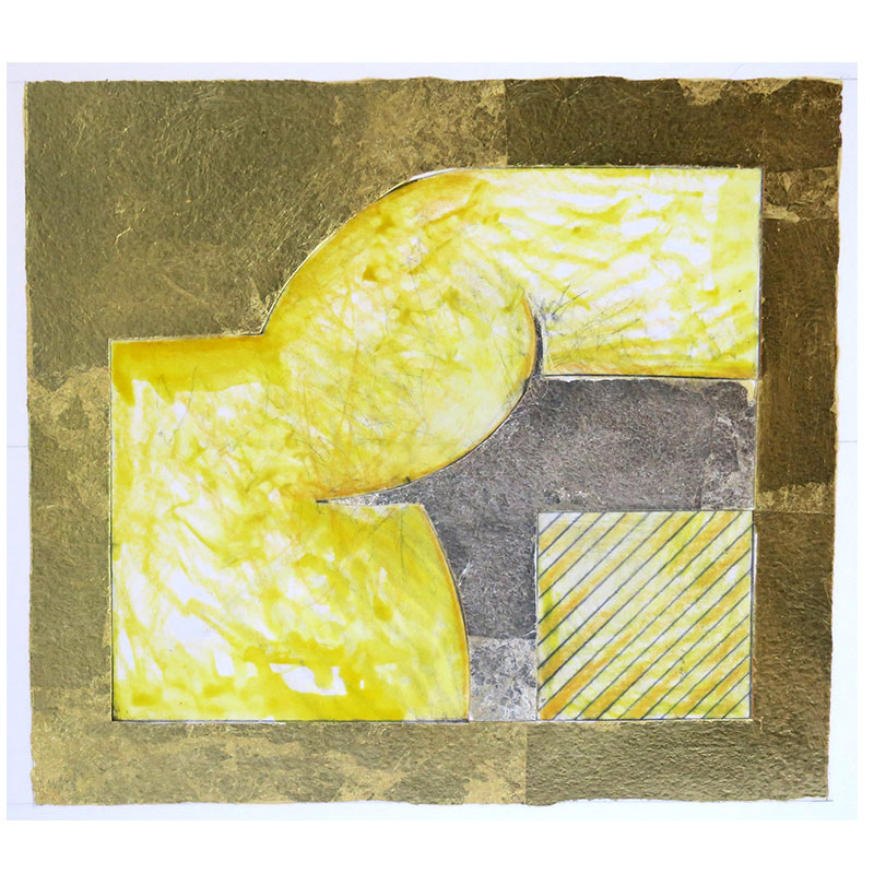 "Study II , 2006 mixed media collage on paper and board 16 x 16"" framed  Inquire >"