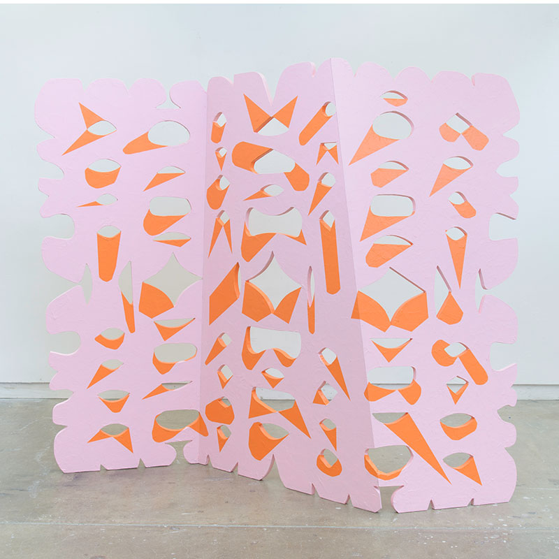 "Large Cutout, Pink and Orange , 2017 mulberry paper, wood, paint 75 x 96 x 30""  Inquire >"