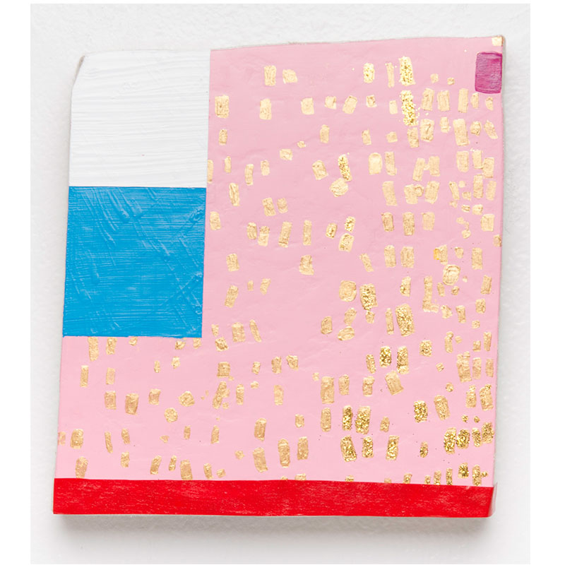 "Small Painting, Pink and Gold , 2017 acrylic, glitter on linen 8 x 8""  Inquire >"