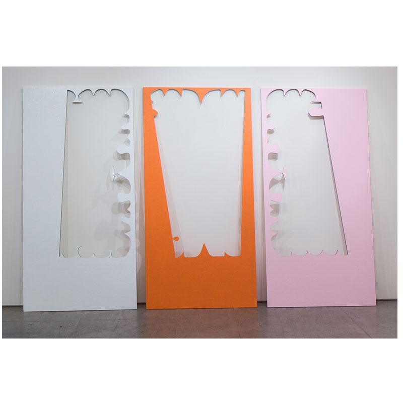 "Cutout, July , 2017 wood, mulberry paper, paint 84 x 156"" (triptych, each 84 x 48"" )  Inquire >"