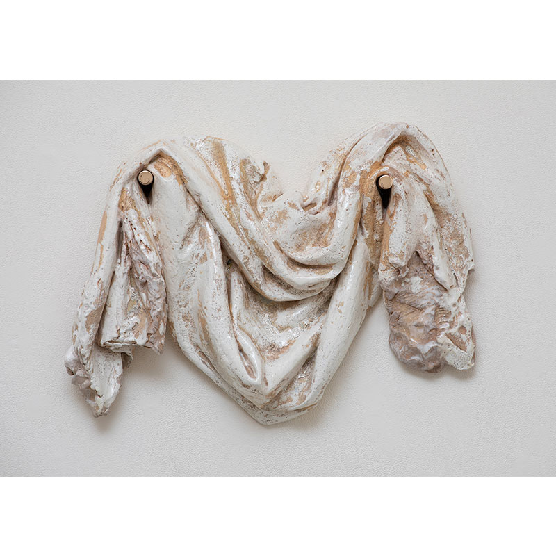"Pale Drape , 2018 ceramic & bronze 17 x 22 x 6""  Inquire >"