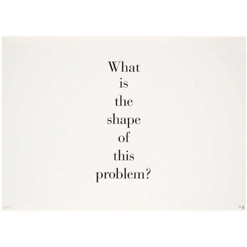 """What is the Shape of This Problem? , 1999 lithography and letter press series of nine images and nine text panels 12 x 17"""" paper (each) 15 x 20.25"""" framed (each) 8AP, Edition of 25  Inquire >"""