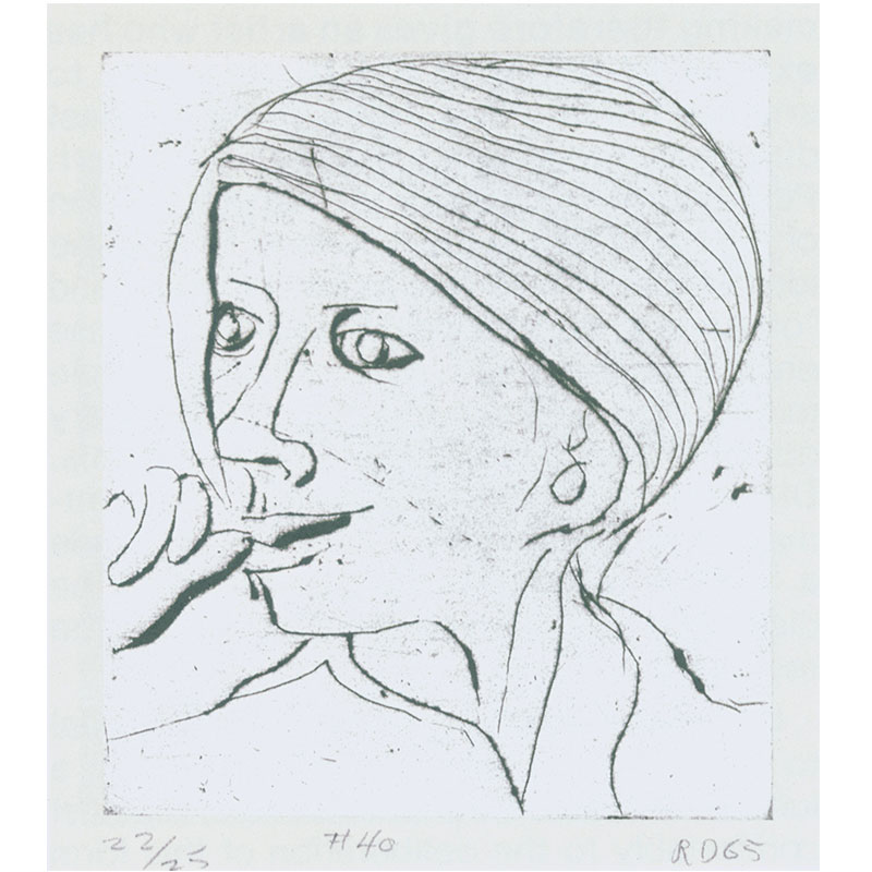 """#40, of """"41 Drypoints & Etchings"""" , 1965 etching 4.75 x 4.25"""" plate 20.25 x 16.25"""" framed Edition of 25"""