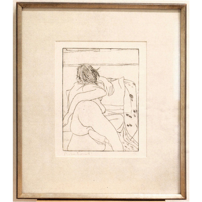 "Backside View of Reclining Nude Woman , 1961 hardground etching on Arches paper; copper edges cut 11.75 x 8.5"" image 19 x 14"" paper 23 x 18.25 x 1.75"" framed Edition of 9"
