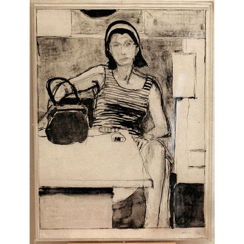 "Woman Seated at Table with Striped Tank Top (Or Seated Woman in Striped Blouse with Purse) , 1967 lithograph 30 x 22"" image 31.5 x 23.5 x 1.75"" framed Edition of 75"
