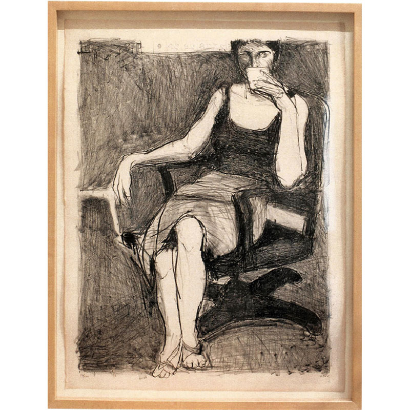 """Seated Woman Drinking from Cup , 1965 lithograph on buff-colored paper 27.5 x 20.75"""" image 33 x 25 x 2"""" framed Edition of 100"""