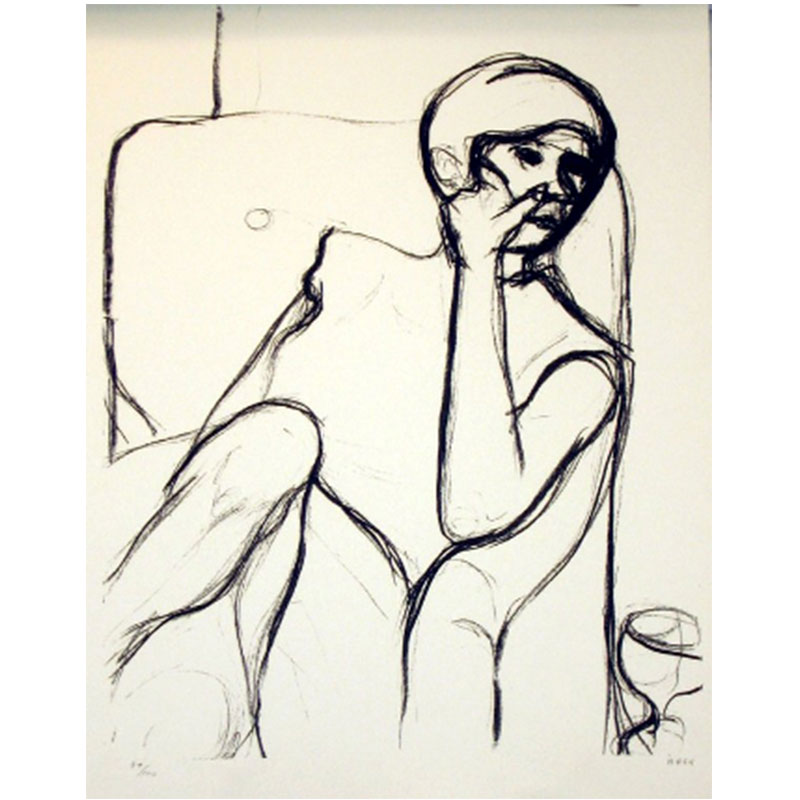 """Woman Seated in an Armchair , 1965 lithograph 25 x 19"""" image 35.5 x 29.5"""" framed Edition of 100"""