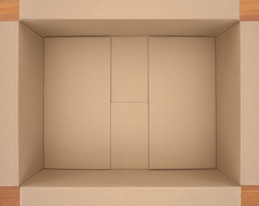 """Untitled (cardboard box) , 2018 photographic construction 34 x 42"""" image 35.25 x 43.75"""" framed Edition of 5, 2AP"""