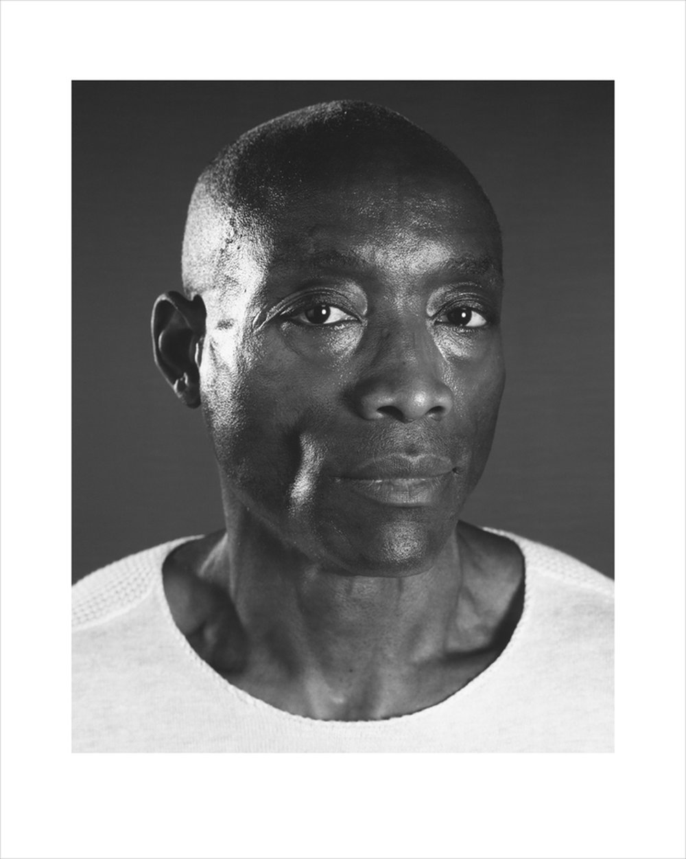 """Untitled (Bill T. Jones), (from portfolio: TWO x TWO for AIDS and Art) , 2009 pigment print on Baryta gloss with chine-collé on Somerset satin watercolor paper 23.5 x 19"""" image 34.5 x 29"""" framed Edition of 40"""