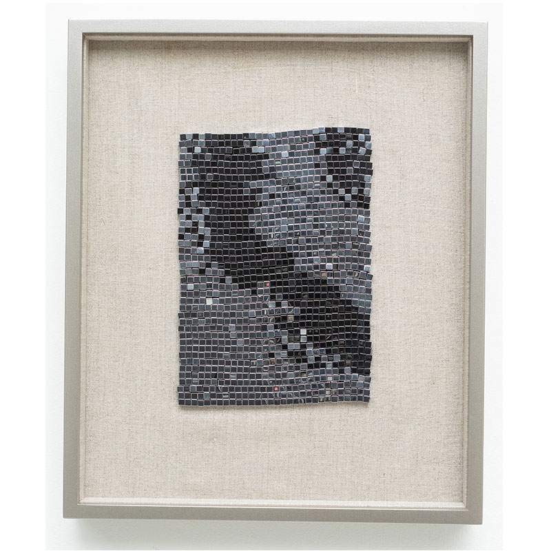 "Champagne Supernova , 2018 steel beads on linen 7 x 5"" unframed 13 x 10.75"" framed SOLD"
