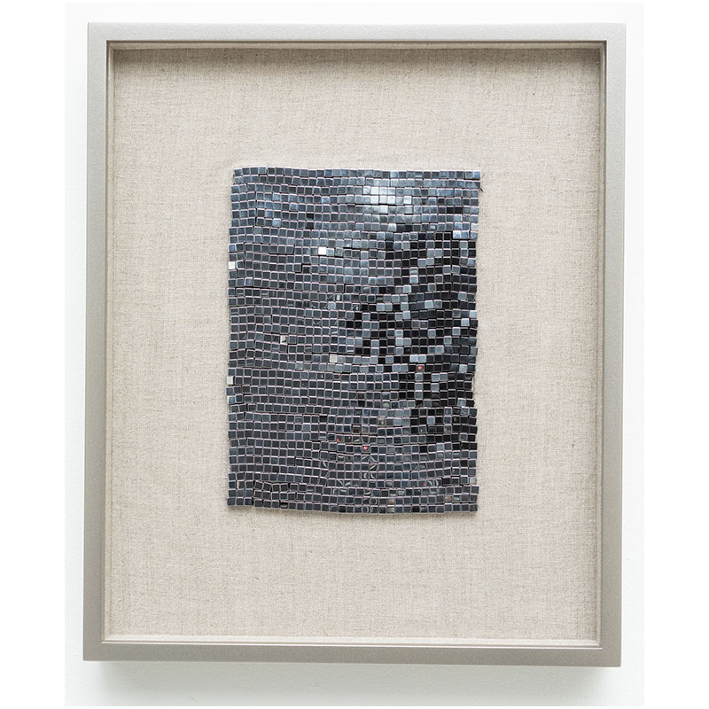 "Intergalactic , 2018 steel beads on linen 7 x 5"" unframed 13 x 10.75"" framed  Inquire >"