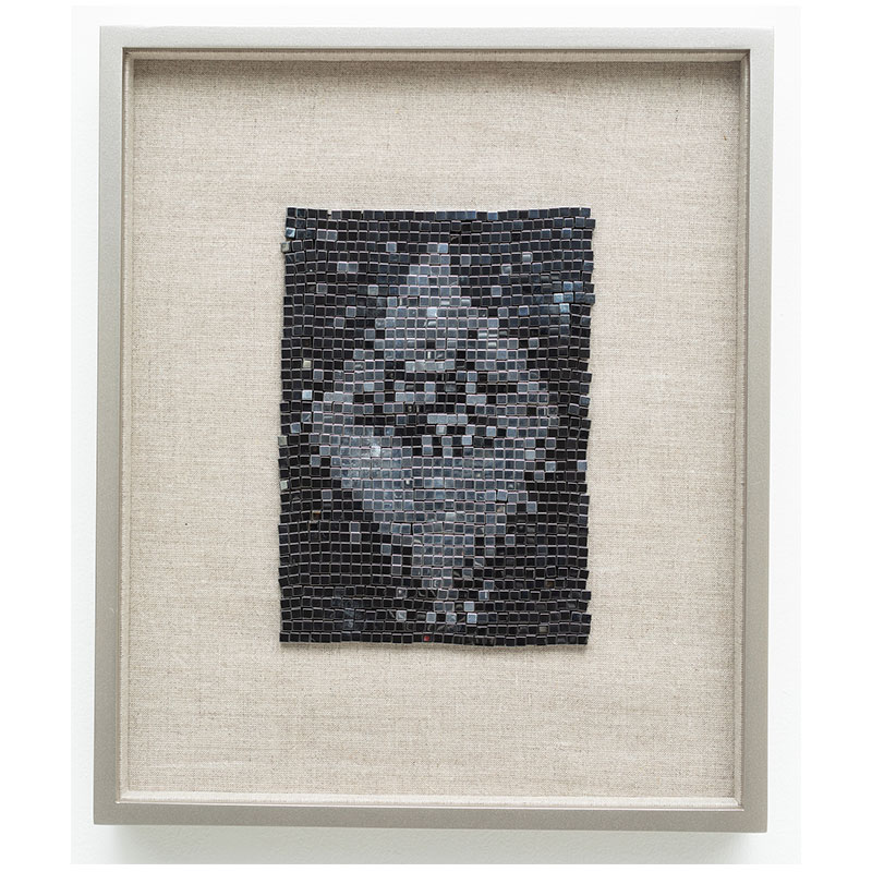 "Satellite of Love , 2018 steel beads on linen 7 x 5"" unframed 13 x 10.75"" framed  Inquire >"