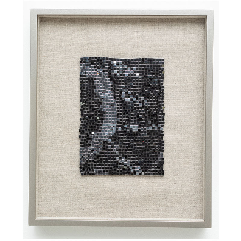 "Spiders from Mars , 2018 steel beads on linen 7 x 5"" unframed 13 x 10.75"" framed  Inquire >"