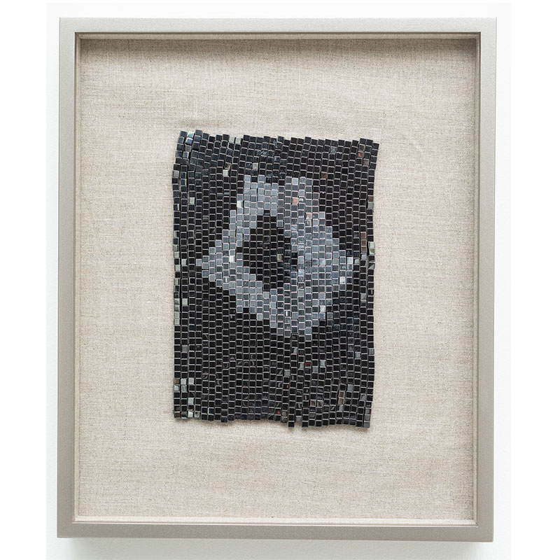 "Supermassive Black Hole , 2018 steel beads on linen 7 x 5"" unframed 13 x 10.75"" framed  Inquire >"