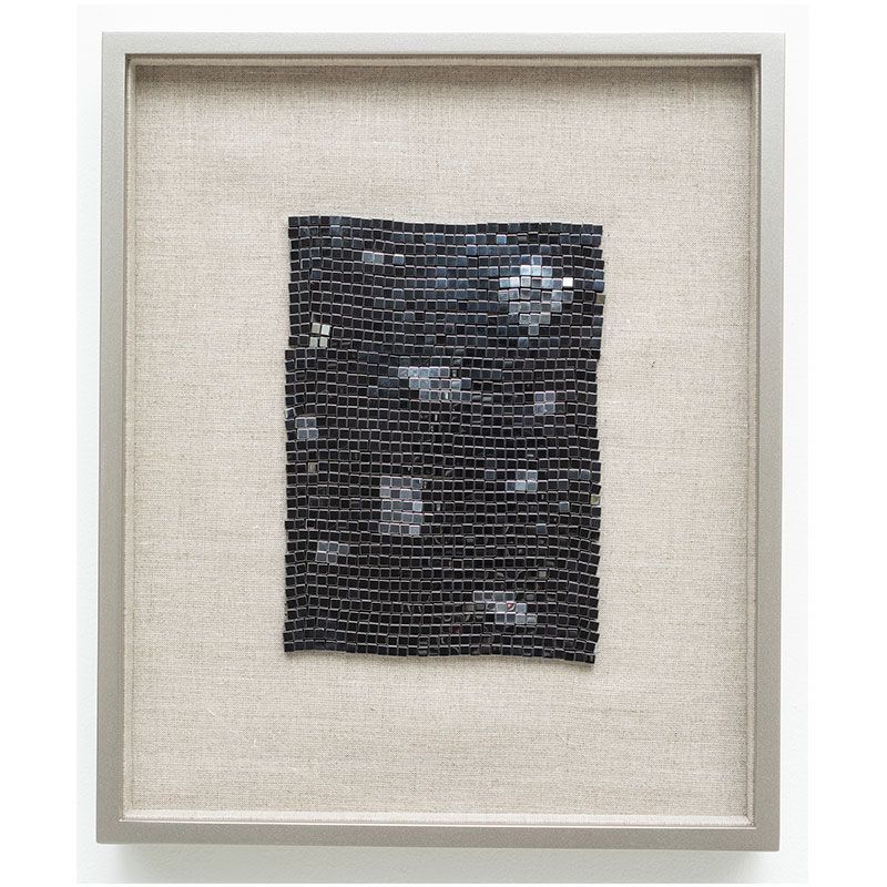 "We Are All Made of Stars , 2018 steel beads on linen 7 x 5"" unframed 13 x 10.75"" framed  Inquire >"