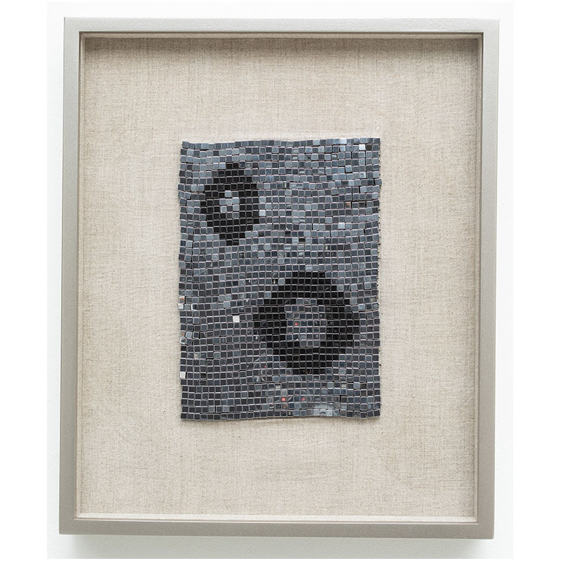 "We Are the Planets , 2018 steel beads on linen 7 x 5"" unframed 13 x 10.75"" framed  Inquire >"
