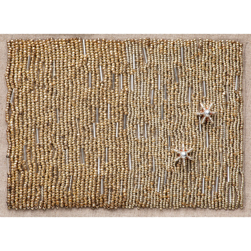 "Cosmo 28 , 2018 bangle and seed beads 5 x 7"" unframed 10.5 x 12.75"" framed  Inquire >"