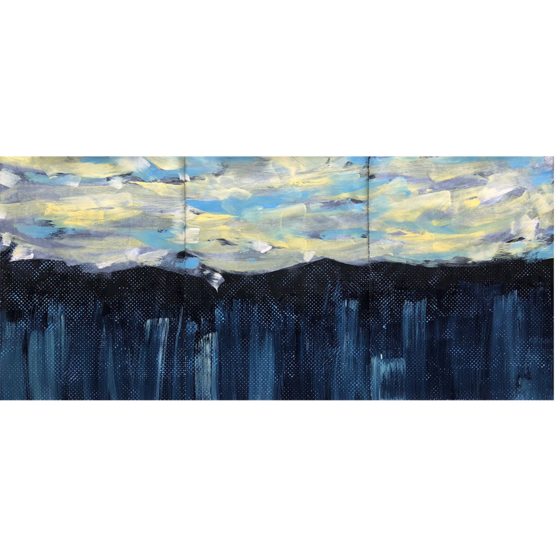 """Passages #141: Don't Tell A Soul , 2018 acrylic and Flashe on paper triptych: 30 x 66"""" paper  Inquire >"""
