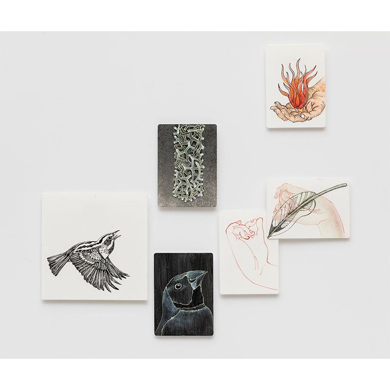 "Untitled (six illustrated tiles) , 2016-18 vitreous enamel ceramic 12 x 12.5""  Inquire >"