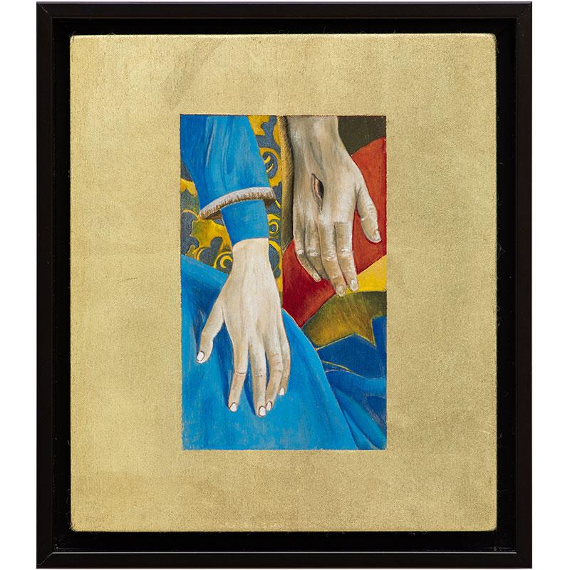 "Untitled (after van der Weyden) , 2017-18 gouache, leaf and wood 8 x 7 x 1.25""  Inquire >  SOLD"