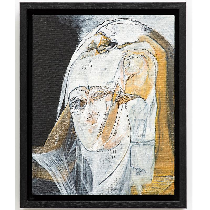 """Untitled (Madonna, after van der Weyden) , 2018 gouache ink 11.5 x 9.25 x 2""""  Inquire >"""