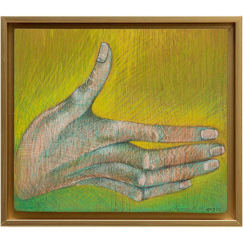 "Untitled (hand) , 1995 prismacolor and wood 7.5 x 8.5 x 1.25""  Inquire >"