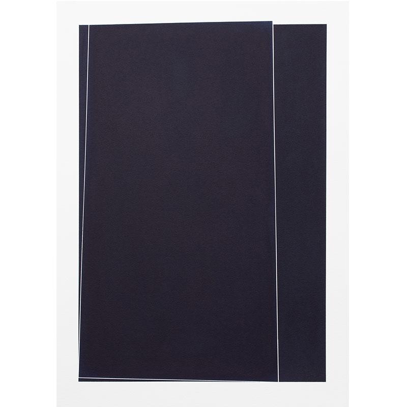 "Untitled, 2018-1011 , 2018 indigo pigment in wax on paper 41.5 x 29.5"" paper  Inquire >"