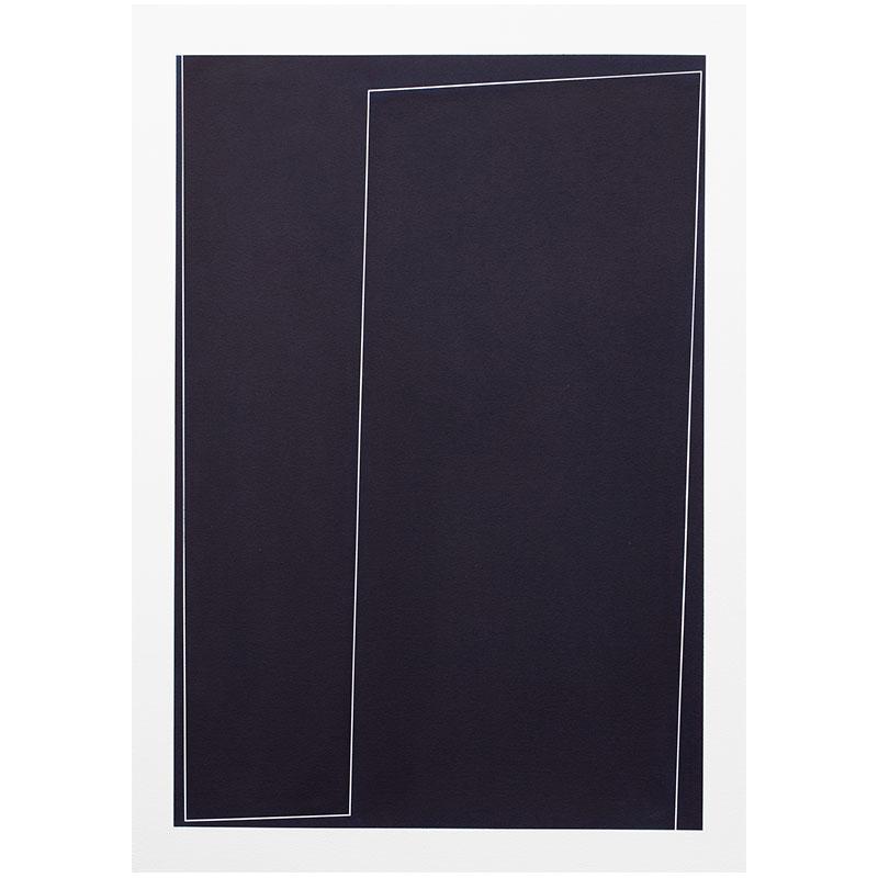 "Untitled, 2018-1018 , 2018 indigo pigment in wax on paper 41.5 x 29.5"" paper  Inquire >"