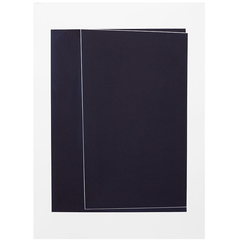 "Untitled, 2018-0903 , 2018 indigo pigment in wax on paper 30 x 22"" paper  Inquire >"