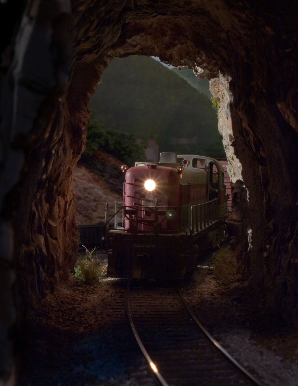 A&O #137 enters Speedy Tunnel having climbed the Morrison grade leaving the Willow Creek valley in the distance.