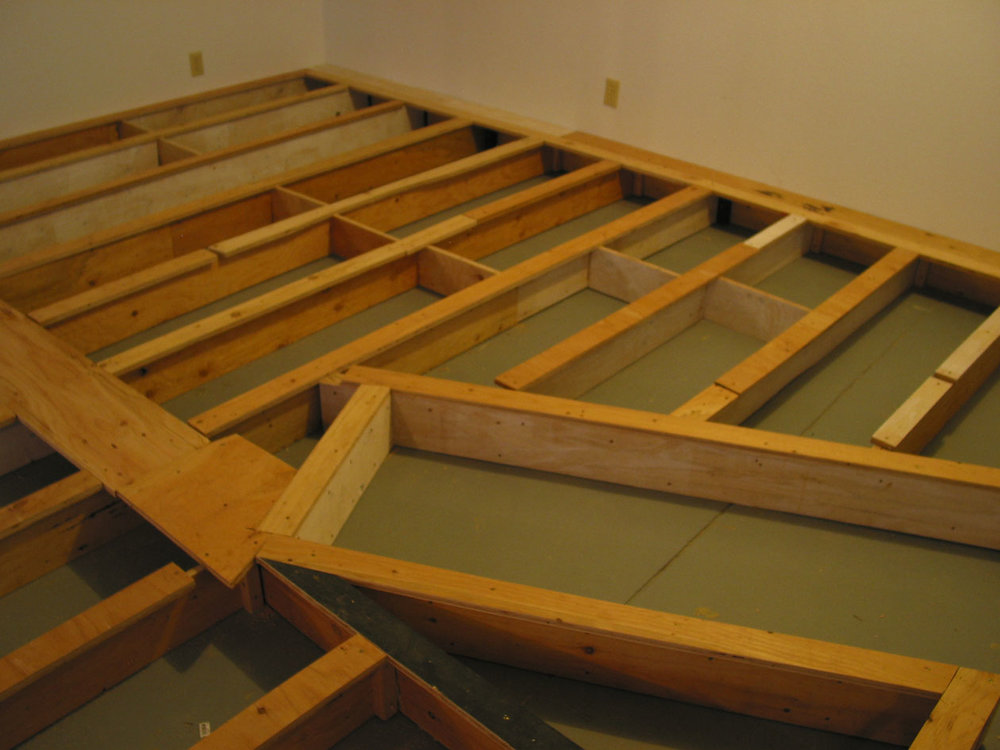 "The framework grid was topped with plywood strips, glued and screwed, making a Tee. This would provide a better anchor for attaching the flooring. The horizontal ""doorway"" is actually the step-down area for future nod-under entrance into the Kayford Valley."