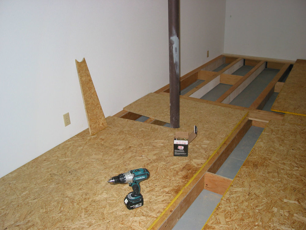 "Regular tongue and groove 1"" flooring was then glued and screwed to the framework."