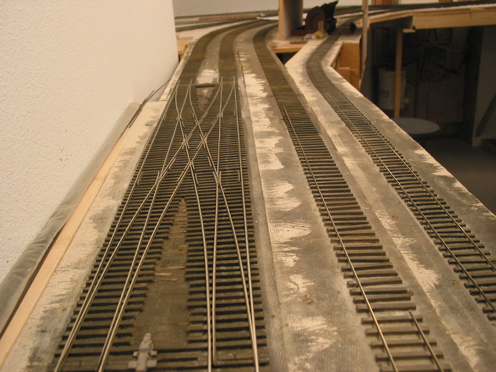 An engineer's view of the Bayfield double-cross. The track to the right is the coal arrival and departure and the far right is coal rotary empty receiving track.