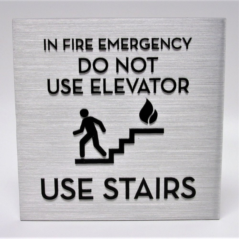 aluminum stairs emergency elevator sign