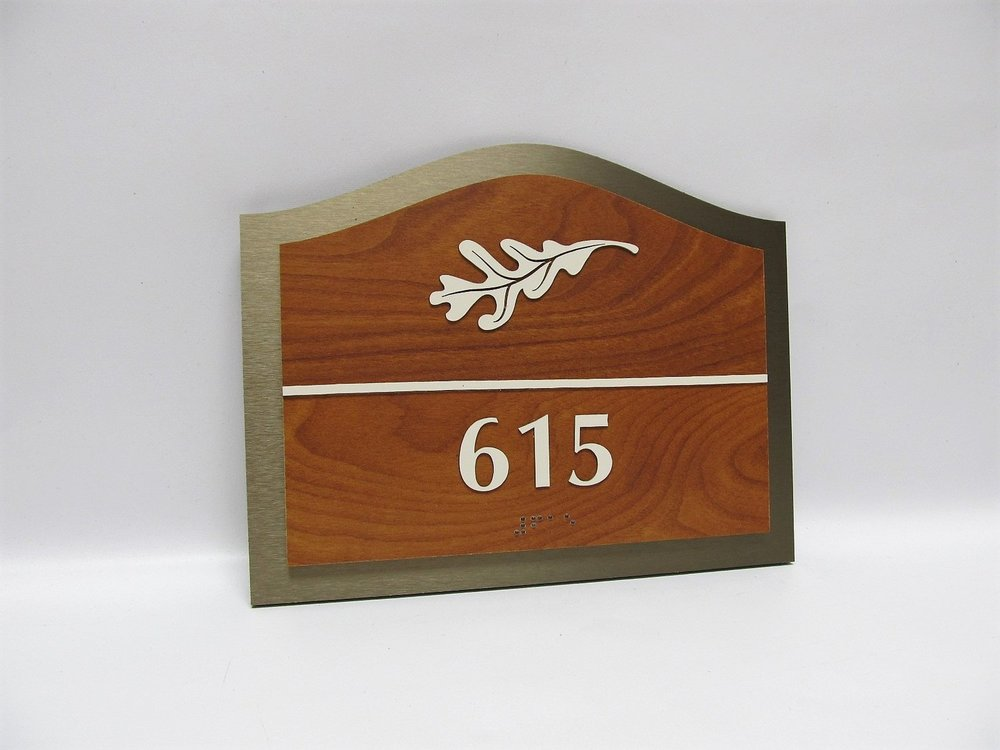 nursing home room number ada sign wood bronze hosparus