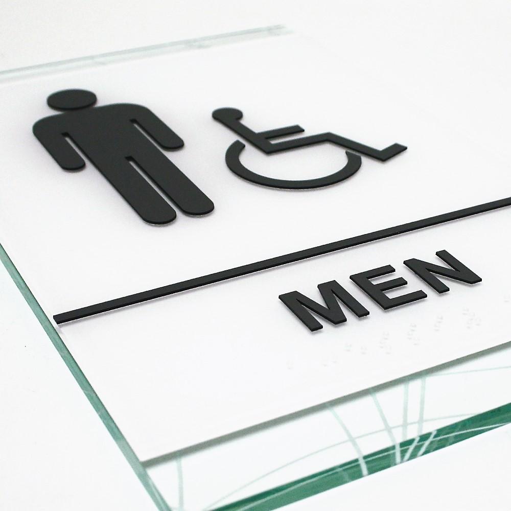 men restroom sign glass white custom handicapped
