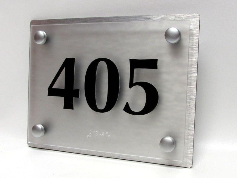 aluminum glass ada room number sign