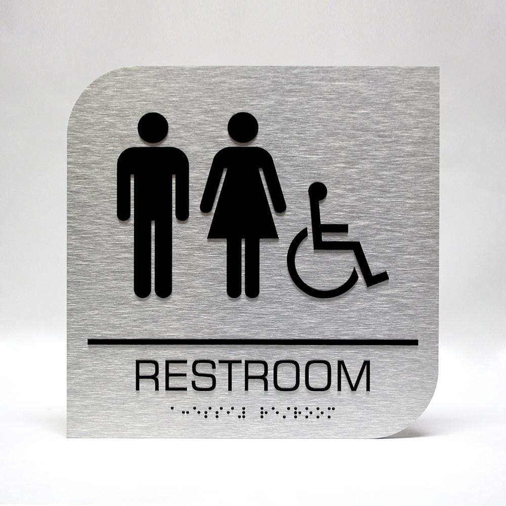 custom ada sign aluminum restroom handicapped