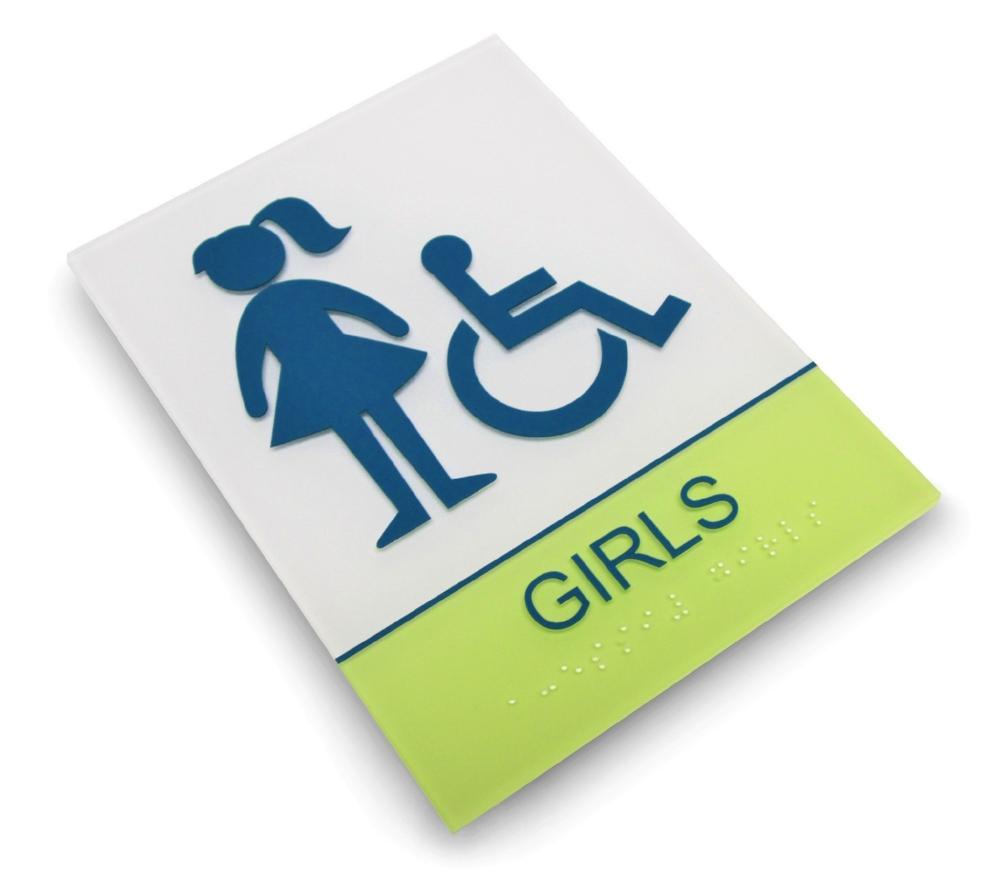 custom girls restroom ada sign