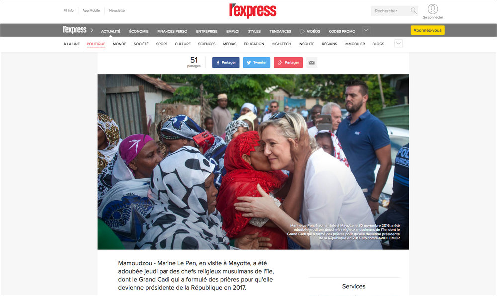 Marine Le Pen à Mayotte - Photos pour  l'AFP  - 11/2016