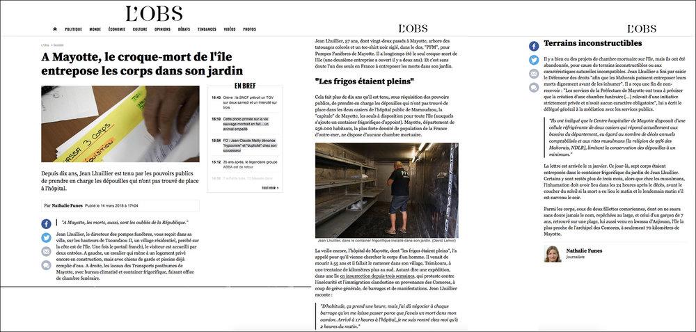 Reportage Pour  le NOUVEL OBS  (web) - Mars 2018